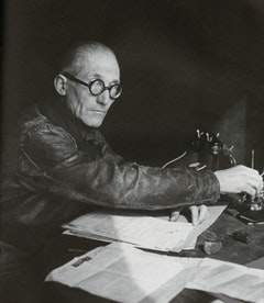 Le Corbusier in his apartment, 24 rue Nungesser-et-Coli, Paris, 1944.