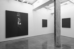 Joan Banach, <i>Citizen</i>, installation view: from left, &quot;Citizen&quot; (2003-2004), white pencil and reconstituted oil on wood, 84 x 72 inches; &quot;Visitor&quot; (2007), reconstituted oil on wood, 38 x 32 inches; &quot;Adversary&quot; (2007), reconstituted oil on wood, 38 x 32 inches. Courtesy of the artist and Small A Projects. Photo: Thomas Mueller.
