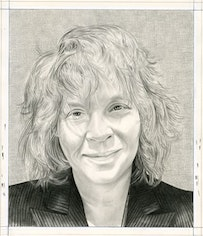Portrait of the writer. Pencil on paper by Phong Bui.