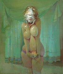 <i>PieFace</i> (2008). Oil on linen. 48 x 40.25 x 2 inches. Courtesy of David Zwirner Gallery.