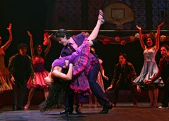 Karen Olivo as Anita and George Akram as Bernardo with The Company. ©2009, Joan Marcus