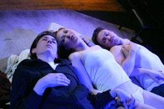 Bronwen Coleman, Erin Maya Darke and Ken Matthews in <i>Love</i>. Photo Credit: Dan Henry