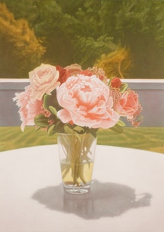Matvey Levenstein, <i>CT (Peonies)</i>, (2009). Oil on linen. 60 by 43 inches. Courtesy of Larissa Goldston Gallery.