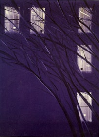 "Alex Katz, ""Purple Wind"" (1995). 126˝ × 96˝. Collection of the artist. Courtesy of the artist."