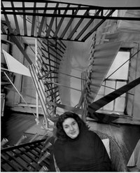 Portrait of the artist in her studio. Photo by Peter Bellamy, 1983.