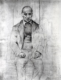 "Pablo Picasso, ""Portrait of Max Jacob"" (1915). Pencil on paper, 13 × 93/4˝. Zervos VI, 1284. Private collection. Courtesy of ARS."