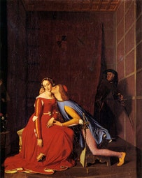 "Jean-Auguste-Dominique Ingres, ""Paolo and Francesca,"" Angers, Musee Turpin de Crisse. Oil on canvas, 48 × 39 cm. Inscribed: Ingres. Rom. 1819."