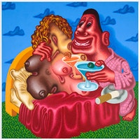 "Peter Saul, ""Viva La Difference"" (2008). Acrylic on canvas,72 × 72 inches (182.9 × 182.9 cm). Courtesy of David Nolan Gallery."