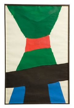 "Jack Bush, ""Red Sash with Black"" (1962). Gouache, 35 × 23 inches."