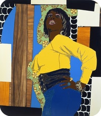 "Mickalene Thomas, ""Don't forget about me (Keri)"" (2009). Rhinestone, acrylic and enamel on panel, 84 × 72 inches, 213.4 × 182.9 cm. Courtesy of the Artist and Lehmann Maupin Gallery, New York."