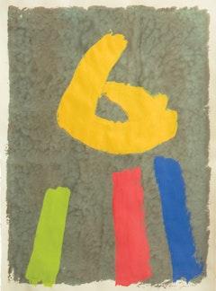 """Jack Bush, """"Forsythia"""" (1971). Gouache, 30 × 22 1⁄2 inches."""