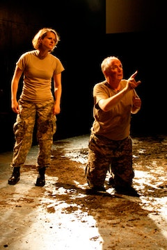 ERIN MOON AND DAVID MCCANN IN <i>INTO THE HAZARD [HENRY V]</i>. CREDIT: LISA DOZIER