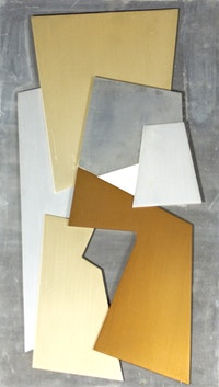 "Hans Richter (left) ""Cohesion II"" (1967). Painted aluminum relief on painted wood: 32.75"