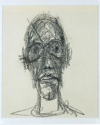 "Alberto Giacometti, ""Portrait de Diego,""1958. Black crayon on paper. 9 1/2 x 7 7/8 inches (24 x 20 cm). Private Collection."