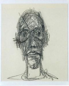 """Alberto Giacometti, """"Portrait de Diego,""""1958. Black crayon on paper. 9 1/2 x 7 7/8 inches (24 x 20 cm). Private Collection."""