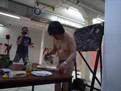 Arai Shin-Ichi working on a mouthful of Beuysian history in