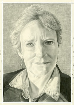 Portrait of Eleanor Heartney. Pencil on paper by Phong Bui.