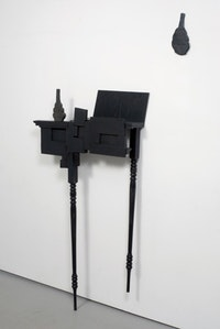 "Keiko Narahashi, ""Untitled (one black vase, split),"" 2009, ceramic, wood, acrylic, 57 1/2"" x 32 1/2"" x 6 3/4"" + 10 3/4"" x 5"" x 1/2""."