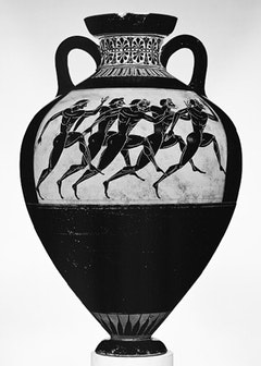 Panathenaic amphora, ca. 530 b.c.; Archaic Attributed to the Euphiletos Painter, Greek, Attic, Terracotta. H. 24 1/2 in. (62.23 cm), Rogers Fund, 1914 (14.130.12). Courtesy of the Metropolitan Museum of Art, New York