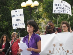 Constance DeCherney, Board Chair, New York Abortion Access Fund, during a vigil for Dr. George Tiller on June 1, 2009. Photo by NARAL Pro-Choice.