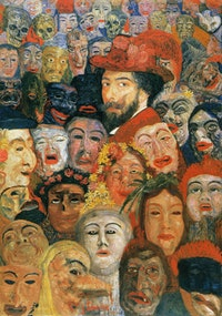 "James Ensor Belgian, ""Self-Portrait with Masks,"" 1899. Oil on canvas (120cmx80cm)."