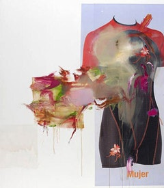 "Albert Oehlen, ""Mujer,"" 2008. Oil and paper on canvas, 122 x 106 1/4 inches (310 x 270 cm)"