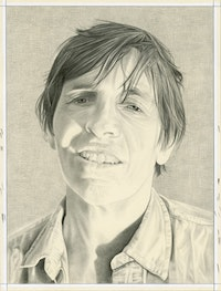 Portrait of Eileen Myles. Pencil on paper by Phong Bui.