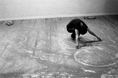 Robert C. Morgan, 50/50: Learning to Swim, photo-document of performance, 1974