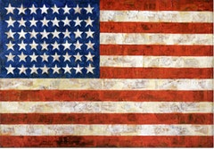 Jasper Johns, FLAG (1954-55). Encaustic, oil, and collage on fabric mounted on plywood (three panels). 42 1/4 x 60 5/8 in. (107.3 x 154 cm). The Museum of Modern Art, New York. Gift of Philip Johnson Johnson in honor of Alfred H. Barr Jr.