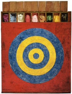 Jasper Johns, TARGET WITH PLASTER CASTS (1955). Encaustic and collage on canvas with objects. 51 x 44 x 3 1/2 in. (129.5 x 111.8 x 8.8 cm). Collection David Geffen, Los Angeles.
