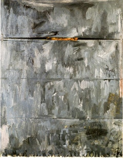 Jasper Johns, 4 THE NEWS (1962). Encaustic and collage on canvas with objects. 65 x 50 in. (165.7 x 127 cm). Kunstsammiung Nordrhein-Westfalen, Dusseldorf.