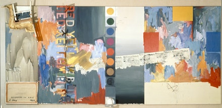 Jasper Johns, ACCORDING TO WHAT (1964). Oil on canvas with objects (six panels). 7 1/3 x 16 ft. (2.24 x 4.88 m) Private collection.