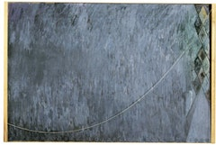 Jasper Johns, CATENARY (I Call to the Grave) (1998). Encaustic on canvas with wood and string. 78 x 118 x 8 in. (198.1 x 299.7 x 20.3 cm). Philadelphia Museum of Art.