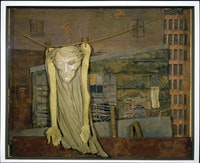 Christ on a Clothesline, ca. (1955–59). Collage and mixed media in deep glass covered box. 24