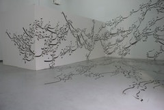 Parastou Forouhar, Written Room (1999 - present), acrylic on walls and floor