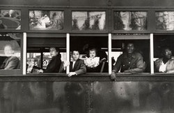 Robert Frank, Trolley—New Orleans, 1955; gelatin silver print; 8 5/8 x 13 1/16 in.; Lent by The Metropolitan Museum of Art, Gilman Collection, Purchase, Ann Tenenbaum and Thomas H. Lee Gift, 2005; © Robert Frank