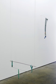 "Quiet Revolution installation view at Milton Keynes Gallery. (""Strings, elastic and sticks"", 2008 & ""Rubber, fly-line, blue and a twig"", 2008, both by Margrét H Blöndal). Photo by Andy Keate. Courtesy Milton Keynes Gallery"