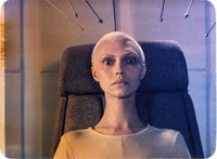 Under the microscope: the humanoid Neeya (Yelena Metyolkina) in _To the Stars By Hard Ways._