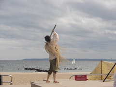 Prospero and the ocean. Photos by Eleanor Miller.