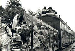 A refugee train on its way to Punjab, Pakistan.