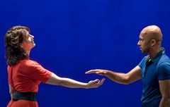Juliette Binoche and Akram Khan in <i>In-I</i>. Photo by Jack Vartoogian.