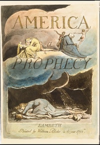 William Blake, plate 2 (title page) from <i>America: a Prophecy</i> (1793). Relief etching with hand coloring and white line etching. Copy A, printed ca. 1795. Purchased by Pierpont Morgan, 1909; PML 16134.