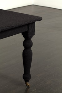 Quentin, 2009 (detail). Wood table and wool. 83 by 29 by 38 inches. Courtesy of On Stellar Rays.