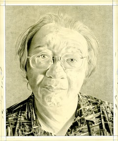 Portrait of John Yau. Pencil on paper by Phong Bui.