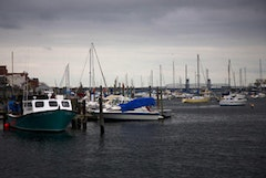 Boats moored and docked in Sheepshead Bay.