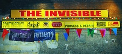"Ester Partegàs, ""The Invisible"" (2008). Aluminum and Plexiglas awning, bulbs, fluorescent lights, vinyl, banners, pennants. 20 ft × 14 ft × 2 ft 5 in. Commissioned by the Aldrich Museum, Ridgefield, CT. Courtesy of the artist and Foxy Production, New York. Installation at Brooklyn Academy of Music, Photo by Shervin Lainez."