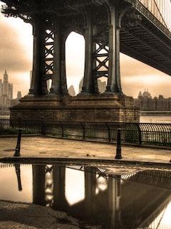 Water under the Manhattan Bridge.