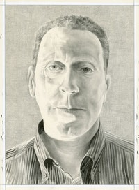 Portrait of David Anfam. Pencil on paper by Phong Bui.