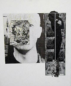 Ray Johnson, Untitled (Marilyn with Caveman & RJ) (1992). Collage, 17 x 14 inches (43.2 x 35.6 cm). Dated
