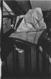 """Marcel Duchamp, """"The Unhappy Readymade"""" (1919). Found object (photograph, 1920)."""